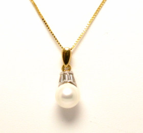 "14K Two Tone Gold CZ Pearl Charm with 14K Yellow Gold 20"" Box Chain 52000614"