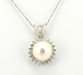 14K White Gold Pearl and Diamond Charm 52000638