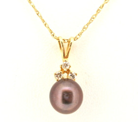 14K Yellow Gold Black Pearl and Diamond Charm 52001510