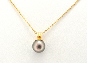 14K Yellow Gold Gray Pearl Pendant 52001485