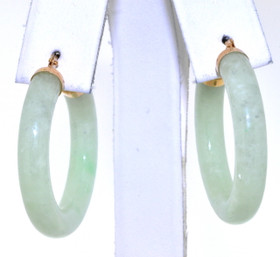 14K Yellow Gold Natural Jade Enhanced  Hoop Earrings