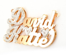 "14K Two Tone Gold ""David Katie"" 0.15ctw Diamond Name Plate"