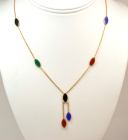 14K Yellow Gold Multicolored Gemstone Necklace 32000344