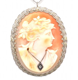 14K White Gold Cameo Pendant/Pin 52001506