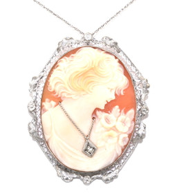14K White Gold Diamond Cameo Pendant/Pin 52001504