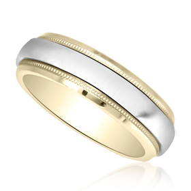 14K Two Tone Gold Miligrain Wedding Band 10000145