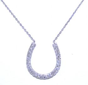 14K White Gold Diamond Horseshoe Pendant Necklace 31000501