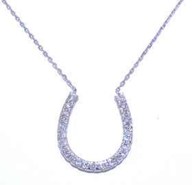 Sterling Silver Diamond Horseshoe Pendant Necklace 83010466