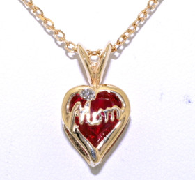 10K Yellow Gold Synthetic Red Diamond Mom Charm 52001578