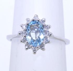 14K White Gold Blue Topaz ring with Diamonds Ring 12002234