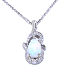 18K White Gold Opal and Diamond Pendant 52000871