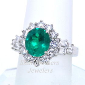 14K White Gold Emerald & Diamond Ring 12002259