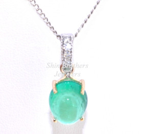 14K Yellow & White Gold Emerald Diamond Pendant 52001609