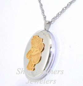 14K Yellow Gold & Sterling Silver Winne the Pooh Locket with Chain 30000647