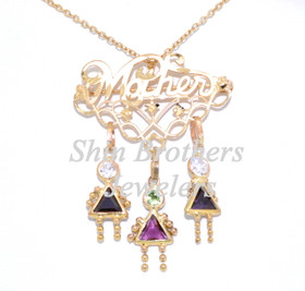 14K Yellow Gold Mother Kids Charm And Pin 52001590