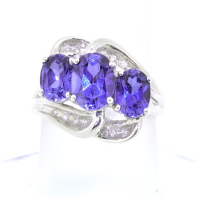 10K White Gold Tanzanite and Diamond Ring 12001635