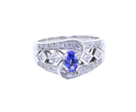 14K White Gold Tanzanite/Diamond Ring 12001746