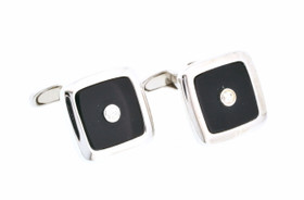 14K White Gold Square Diamond/Onyx Cuff Links 89910058