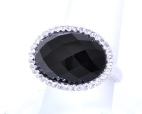 14K White Gold Smokey Topaz/CZ Ring 12000777