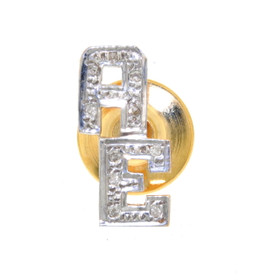 "14K Two Tone Gold Diamond ""AE"" Initial Tie Tack 53110007"