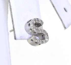 "14K White Gold Diamond ""S"" Initial Single Earring 43300023"