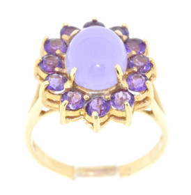 14K Yellow Gold Amethyst and Purple Jade Ring 12000689
