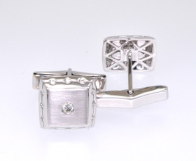 18K White Gold Square Diamond Cuff Links 89910050