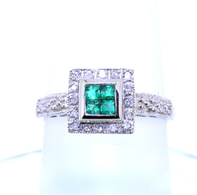 14K White Gold Emerald/Diamond Ring 12002286