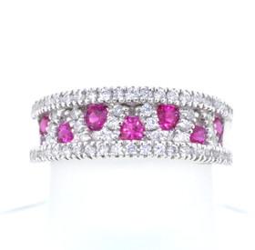 14K White Gold 0.55ctw Diamond/Ruby Band 12002290