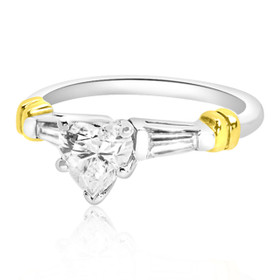 14K Two Tone Gold Heart Diamond Engagement Ring