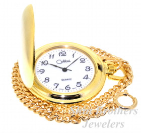 "Yellow Gold Plated Colibri Stainless Steel Pocket Watch with 12"" Chain and Money Clip Set 70000129"