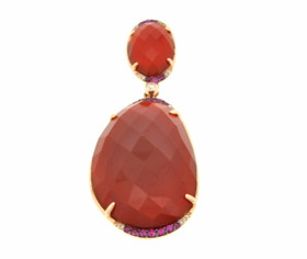 14K Yellow Gold Diamond, Pink Sapphire and Red Agate Pendant 52001620