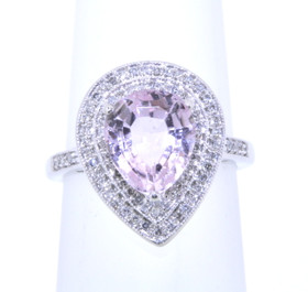 14K White Gold Morganite and Diamond Ring 12002262