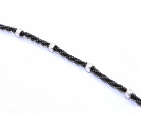 "Sterling Silver 10"" Black Rope Anklet with White Beads 82010454"