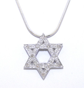 14K White Gold Diamond Star of David Charm 51001658