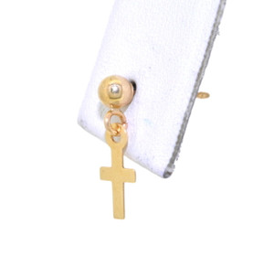 14K Yellow Gold Cross Single Dangle Earring