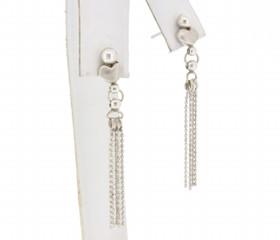 14K White Gold Diamond Heart Dangle Brush Finshing Earrings 40000631
