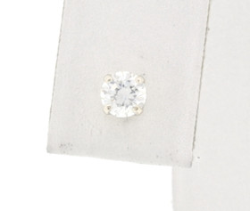 14K White Gold CZ Single Push Back Stud 42002319