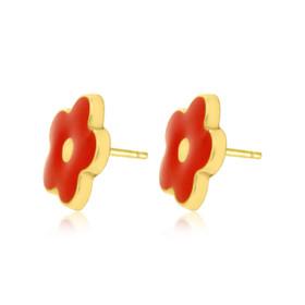 14K Yellow Gold Red Enamel Flower Stud Earrings 40002234