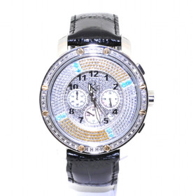 KC Stainless Steel Genuine Black Leather Multicolor Dial Watch 61060003