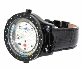 KC Stainless Steel Genuine Black Leather Floating Multicolor Crystals Watch 63310084