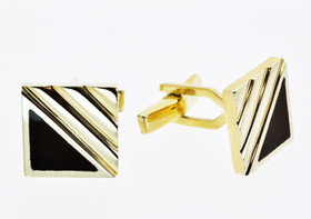 14K Yellow Gold Square Onyx Cufflinks 52001041