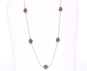 14k Yellow Gold Black Akoya Pearls Necklace 32000205