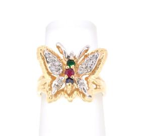 14K Yellow Gold Ruby/Emerald/Sapphire/Diamond Butterfly Ring 12002299