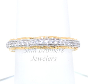 18K Two Tone Gold Diamond Wedding Band 11004018