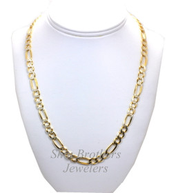 "Sterling Silver Two Tone Gold Plated 22"" Diamond Cut Figaro Chain Necklace 83010553"