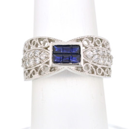 Sterling Silver Blue CZ Band 81010266