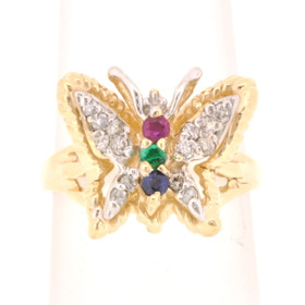 14k Yellow Gold Diamond, Ruby, Emerald, and Sapphire Butterfly Ring 12002301