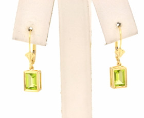 14K Yellow Gold Peridot Lever Back Earrings 40001997