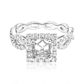 18K White Gold EGL Certified Diamond Engagement Ring Setting 11005003